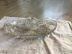 Ancienne Coupe A Fruits Corbeille Cristal Decore Taillee Signe Baccarat