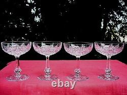 Baccarat Colbert 4 Tall Sherbet Glasses Crystal Coupe A Champagne Cristal Taillé
