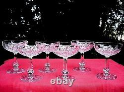 Baccarat Colbert 6 Tall Sherbet Glasses Crystal Coupe A Champagne Cristal Taillé