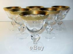 LUXE 6 COUPES A CHAMPAGNE CRISTAL TAILLE dorure l'agate BOHEME THERESENTHAL