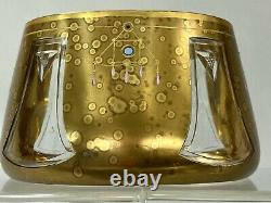 RARE VASE KARLSBAD LUDWIG MOSER DORE TAILLE EMAILLE SECESSION VIENNOISE Ca. 1900