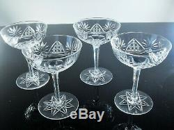 Rare Anciennes 4 Coupes A Champagne Cristal Souffle Et Taille Val St Lambert
